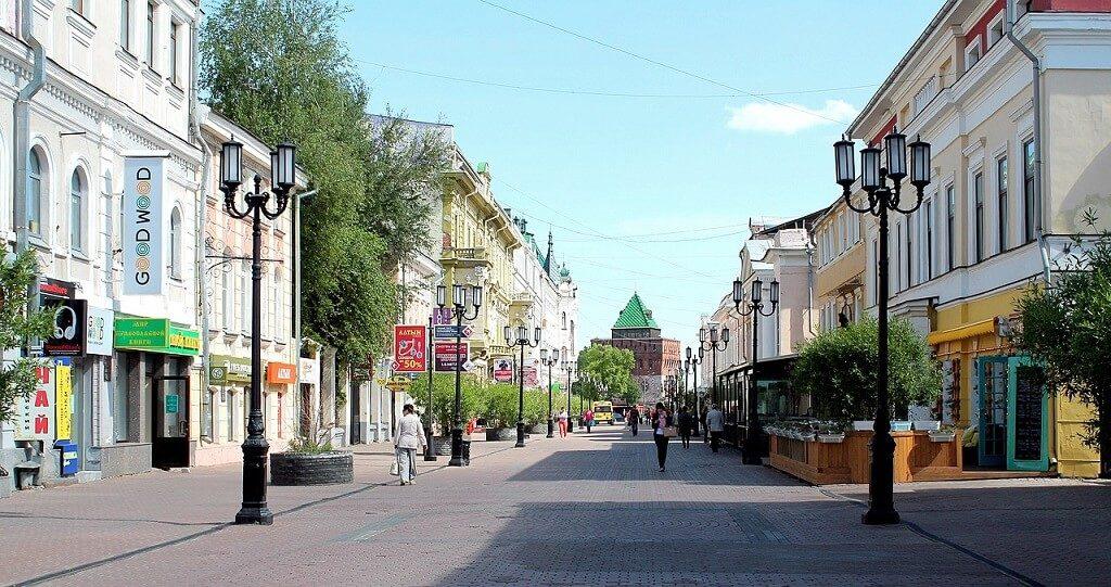 Una delle vie centrali di Nižnij Novgorod