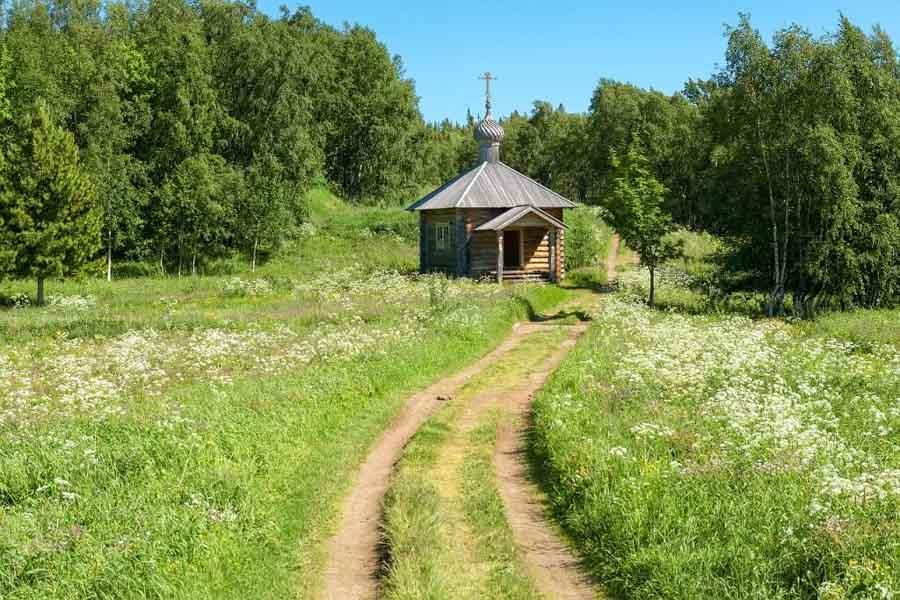 Cappella di legno nell'isola di Anzersky - Isole Solovki, Carelia del nord